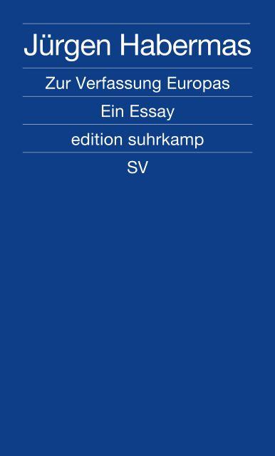 habermas zur verfassung europas ein essay